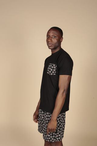 Black,Pocket,Tee,Tshirts, Mens, Cotton, Red, Black, Cream