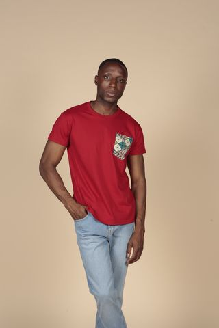 Red,Pocket,Tee,Tshirts, Mens, Cotton, Red, Black, Cream