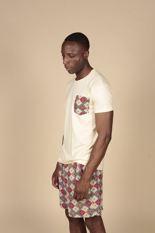 Cream,Pocket,Tee,Tshirts, Mens, Cotton, Red, Black, Cream