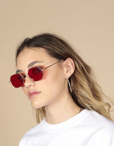 Red,Octagon,90s,Sunglasses, Nineties, Red, Tinted