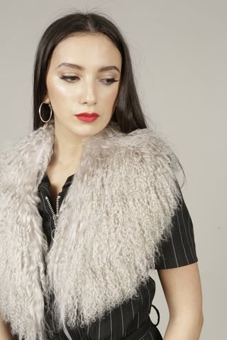 Grey,Mongolian,Wool,Collar, Mongolian, Fur, Scarf, Collar, Red, Winter, Festival, Accessories