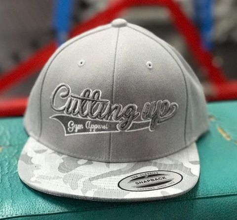 PREMIUM,YUPOONG,GREY,SNAPBACK,WITH,SILVER,CAMOUFLAGE,VISOR,2D,AND,3D,LOGO,Trucker,cap,SnapBack