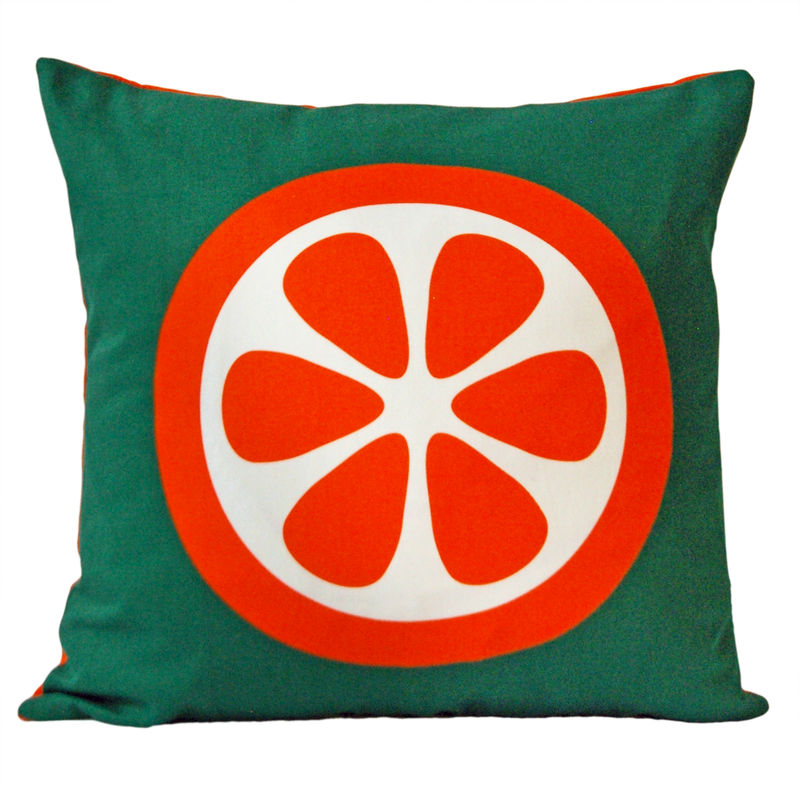 Screen printed cushion cover - Orange - product image