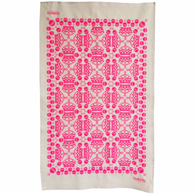 Cotton tea towels - crown orb pattern pink - product image