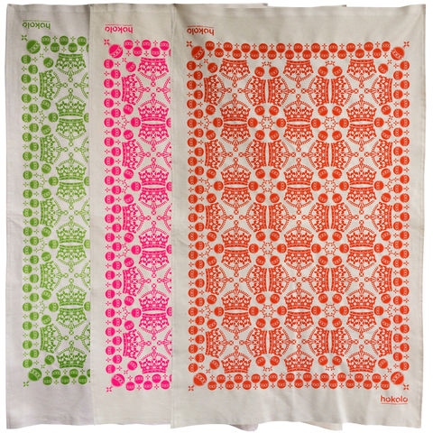 Cotton,tea,towels,-,pack,of,3,unbleached cotton tea towel, natural cotton tea towel, bright colourful tea towel, crown, pattern, sovereign orb, graphic design, mother's day gift, housewarming gifts, dish towel, homeware, kitchen, pink, orange, green