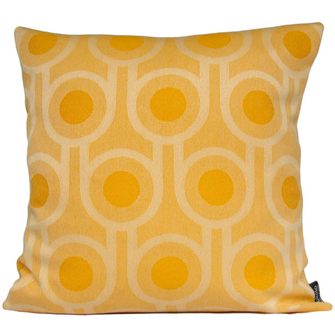 Benedict,Dawn,Large,Repeat,cushion,45x45cm,woven wool cushion, woven wool pillow, bold pattern cushion pillow, graphic cushion pillow, interior design, housewarming gifts, homeware, home accessories, mid century modern, yellow cushion pillow, gold cushion pillow, geometric cushion pillow