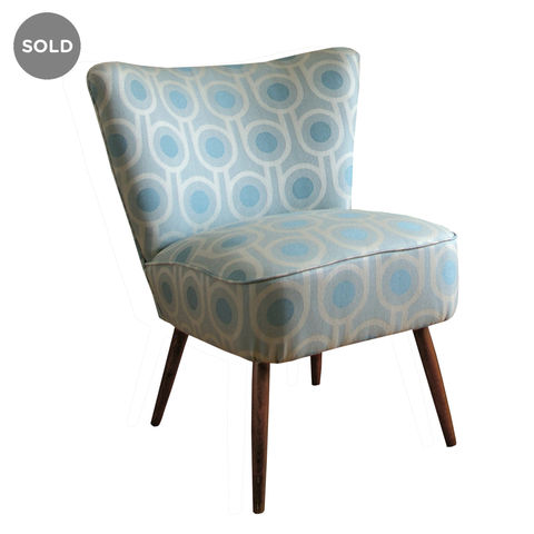 Vintage,mid-century,cocktail,chair,upholstered,in,Benedict,Blue,fabric,vintage chair, mid-century chair, mid-century modern, upholstered chair, upholstery, interior design, interiors, furniture, blue teal chair, blue wool fabric, teal wool fabric, cocktail chair