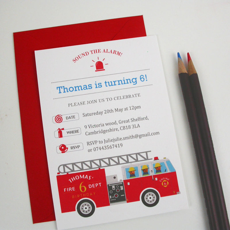 Childrens Party Fire Engine Invitation Moonglow Art