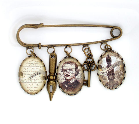 Edgar,Allan,Poe,Brooch,Jewelry,allan_poe_brooch,edgar_allan_poe_gift,gothic_brooch,literary_gift,book_lover_gift,allan_poe_jewellery,reader_gift,literature_gift,gothic_book_lover,uk,altered_art_brooch,gift_for_her,statement_jewellery