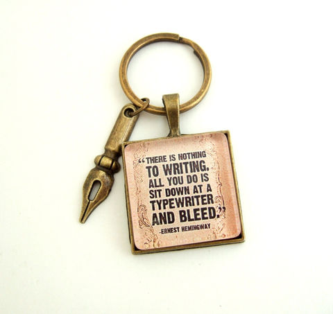Ernest,Hemingway,Key,Ring-Literary,Quote,Keyring,Accessories,Keychain,hemingway_key_chain,hemingway_key_ring,literary_quote,book_lover_gift,writer_gift,uk,quote_jewelry,gift_for_him,quote_key_ring,gift_for_her,literary_gift,student_gift,hemingway_quote