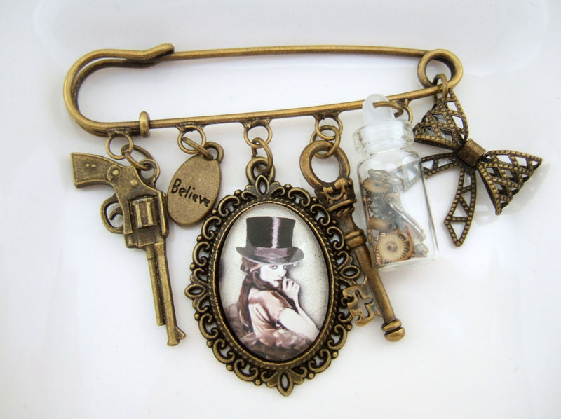Steampunk Brooch,Steampunk Alice In Wonderland Brooch - product images  of