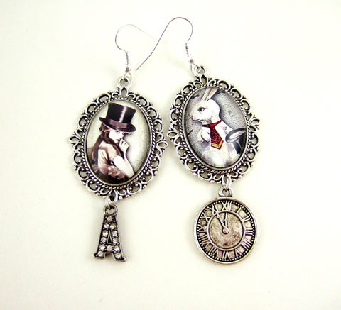 Steampunk,Earrings,Steampunk,Alice,In,Wonderland,Earrings,Jewelry,steampunk_earrings,steampunk_alice,alice_in_wonderland,white_rabbit,victorian_steampunk,uk,altered_art_earrings,steampunk_wonderland,steampunk_jewelry,steampunk_rabbit,cameo_earrings,statement_jewelry,steampunk_fantasy