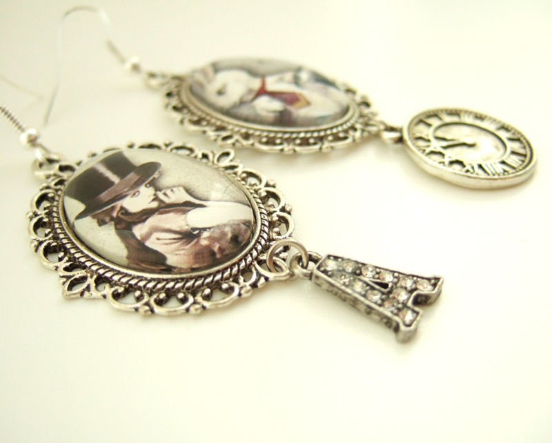 Steampunk Earrings,Steampunk Alice In Wonderland Earrings  - product images  of