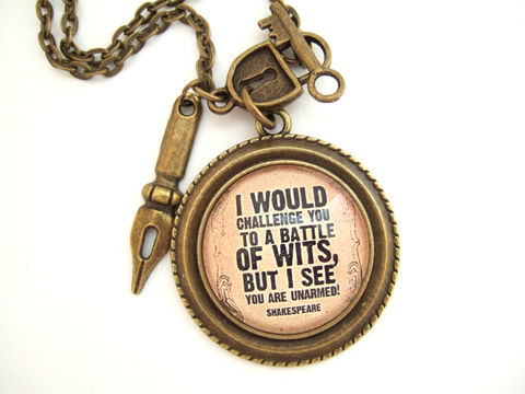 Literary,Quote,Necklace,Shakespeare,Necklace,Jewelry,literary_quote,quote_necklace,shakespeare_quote,shakespeare_jewelry,book_lover_gift,reader_gift,gift_for_bibliophile,witty_quote_gift,funny_quote,english_literature,english_author_gift,book_club_gift,student_gift