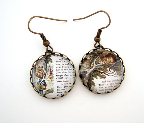Alice,in,Wonderland,Earrings,Jewelry,alice_earrings,alice_jewellery,wonderland_jewellery,literary_gift,literary_jewellery,gift_for_her,cameo_earrings,cheshire_cat_jewelry,uk,wonderland_gift,book_lover_gift,reader_gift,birthday_gift