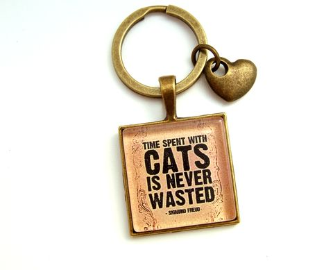 Time,Spent,with,Cats,is,never,wasted-Cat,lover,Gift,Accessories,Keychain,time_spent_with_cats,quote_key_ring,literary_key_ring,cat_lover_gift,animal_lover_gift,gift_for_cat_lover,handmade_in_the_uk,cat_key_ring,sigmund_freud_quote,literary_quote,freud_literary_quote,gift_for_him,gift_for_her
