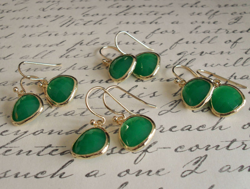 Pale Green Glass and Chrysoprase Gold Earrings
