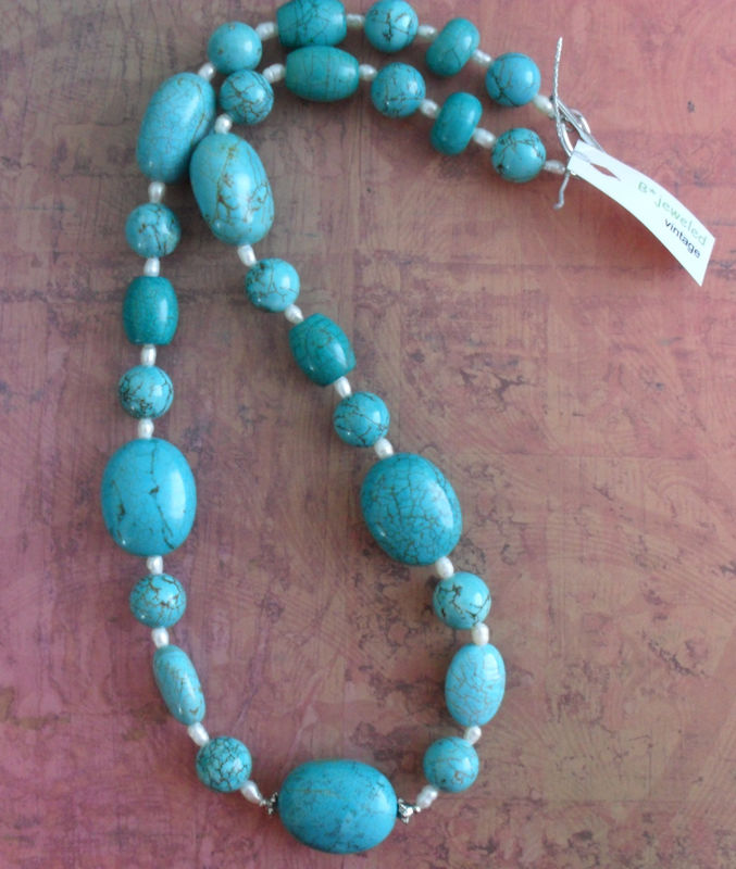 Teal Blue Beaded Stone Necklace