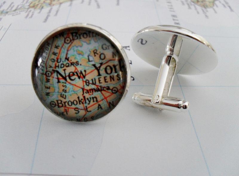 Map Cufflinks New York Coney Island Handmade Cuff Links USA City State Maps New York Groomsmen Wedding Fathers Dad Men