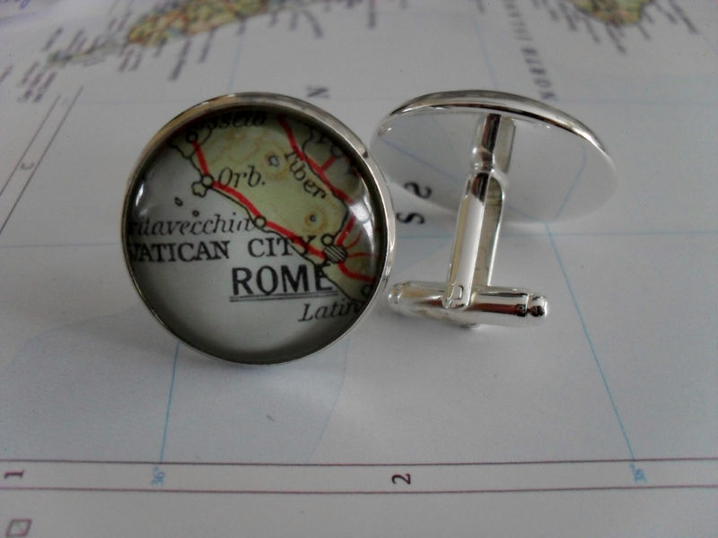 VENICE ITALY Map Silver Cufflinks  Venice Cuff Links  Groomsmen Gift  Gift for Him  Wedding  Map Jewelry  Custom Map  Gift Boxed