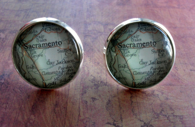 Maps Destination Cufflinks Berkeley Oakland California Groomsmen Wedding Party Fathers Dads Men