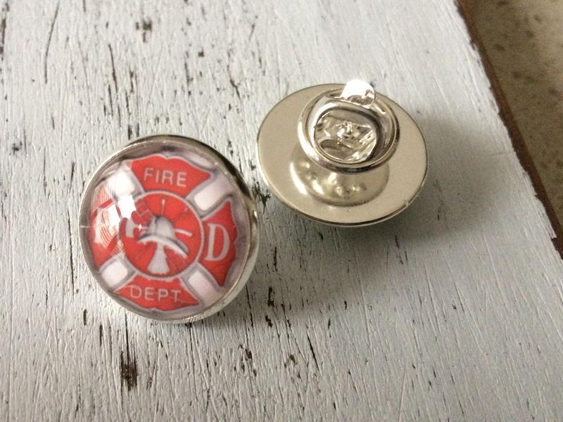 Firefighter Firemen Maltese Cross Black Round Tie Bar Clip Clasp Tack