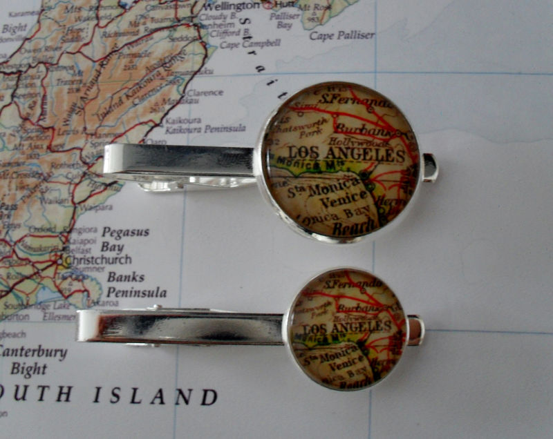 SANTA FE New Mexico MAP Silver Tie Bar  Groomsmen Gift  Gift for Him  Tie Clip  Tie Clasp  Tie Slide Personalized Gift  Map jewelry