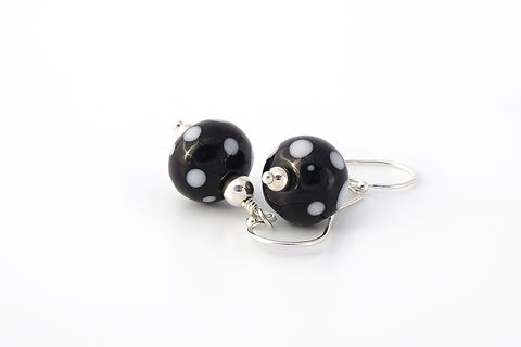 Polka,Dot,Earrings,lampwork jewellery, glass jewellery, lampwork earrings, art jewellery, beaded earrings