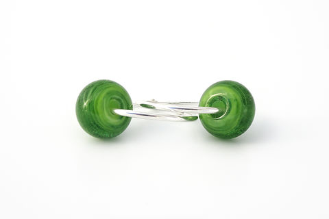 Kiwi,Endless,Hoops,lampwork jewellery, glass jewellery, lampwork earrings, art jewellery, green earrings
