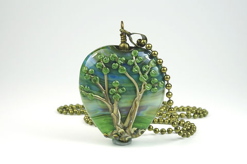 Tree,Pendant,lampwork jewellery, glass jewellery, lampwork pendant, art jewellery, tree bead, tree pendant, pohutukawa tree bead
