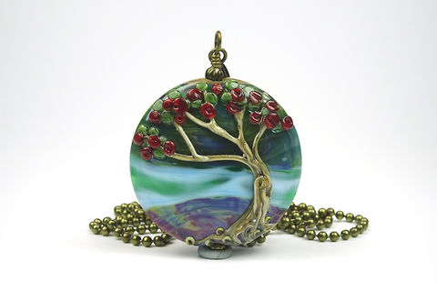 Pohutukawa,Tree,Pendant,lampwork jewellery, glass jewellery, lampwork pendant, art jewellery, tree bead, tree pendant, pohutukawa tree bead