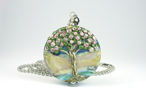 Blossom,Tree,Pendant,lampwork jewellery, glass jewellery, lampwork pendant, art jewellery, tree bead, tree pendant,