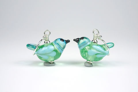 Little,Bird,Earrings,lampwork glass bird jewellery, lampwork bird, glass bird, lampwork earrings