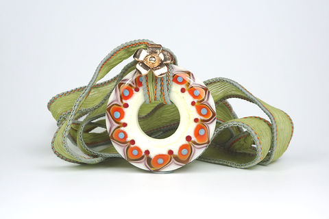 Autumn,Spice,Mandala,Pendant,lampwork glass bead, lampwork glass mandala, lampwork jewellery, glass jewellery
