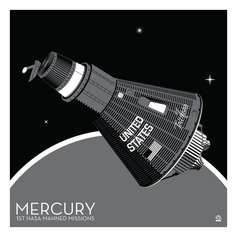 Mercury,Space,Capsule,-,10x10,Giclee,Print,space,science,nasa,vector,print,jpl,Glenn,orbit