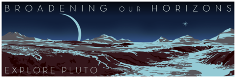 Pluto's,Horizons,Space,Travel,12x36,POPaganda,print,limited,geek,Nerd,gicleé,space,nasa,pluto,horizon