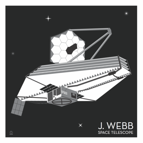 J,Webb,Space,Telescope,-,10x10,Giclee,Print,space,science,nasa,vector,print,JWST,telescope,StarWars