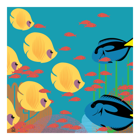 Under,The,Seas,10x10,Giclee,Print,nature,Design,science,Fish,ocean,Reef,great barrier
