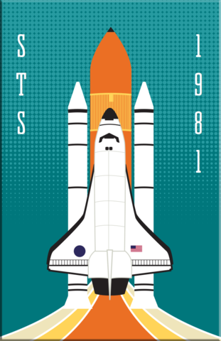 STS,NASA,Space,Shuttle,2x3,Magnet,nasa,rocket,space,retro,Redstone,Mercury