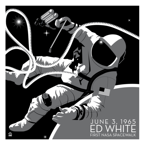 NASA,Spacewalk,Ed,White,-,10x10,Giclee,Print,space,science,nasa,vector,print,ed white,spacewalk