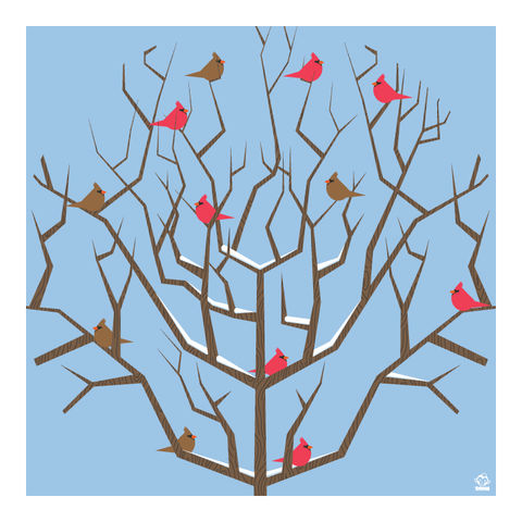 Congress,of,Cardinals,10x10,Giclee,Print,nature,Design,Birds,red,brown,avian,tree