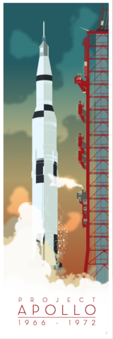 Apollo,Project,Saturn,V,12x36,POPaganda,print,limited,geek,Nerd,gicleé,space,nasa,apollo,astronaut