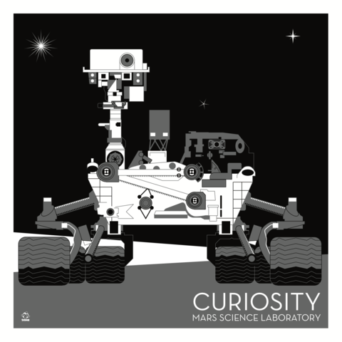 Curiosity,Mars,Laboratory,Nasa,Rover,-,10x10,Giclee,Print,space,science,nasa,vector,print,rover,curiosity,mars