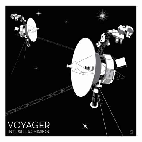 Voyager,Interstellar,Nasa,Probe,-,10x10,Giclee,Print,space,science,nasa,probe,vector,print,voyager,solar
