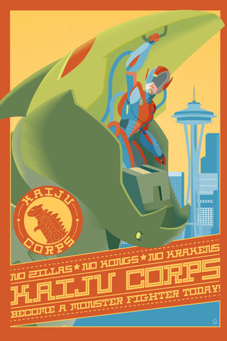 Kaiju,Corps,Monsters,and,Dames,12x18,Ltd,Ed,Giclee,print,giclee,monsters,dames,emerald city,comicon,eccc