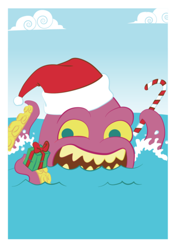 Christmas,Kraken,Holiday,Geeky,Greeting,Card,card,geek,Nerd,geeky greeting,xmas,pirate,ocean