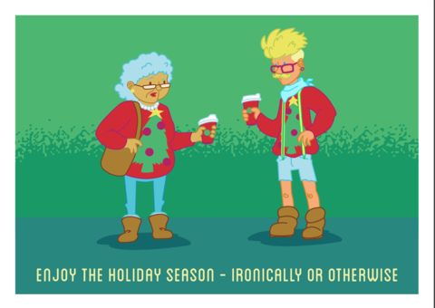 Hipster,Holiday,Geeky,Greeting,Card,card,geek,Nerd,geeky greeting,xmas,fallout,game,Perks