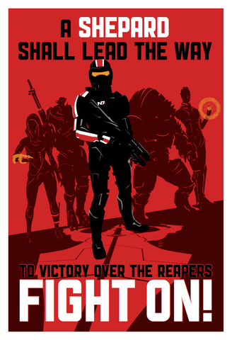FIGHT,ON,-,Commander,Shepard,13x19,POPaganda,print,limited,geek,Nerd,giclee,mass effect,space