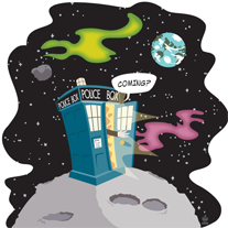 Coming?,-,8x8,Art,Print,art,cute,geek,Nerd,tardis,Dr Who,companion,pond