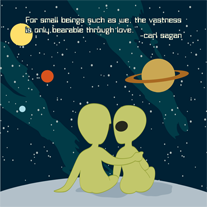 Carl,Sagan,Cosmic,Love,8x8,Print,aliens,art,carl,geek,Nerd,print,sagan,space